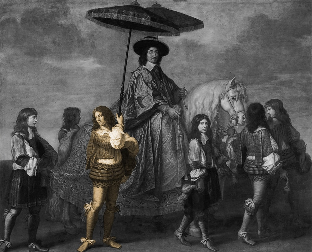 peinture représentant un des Valets au service d'un seigneur. tableau en noir et blanc avec un seul valet en doré qui tient un parasol