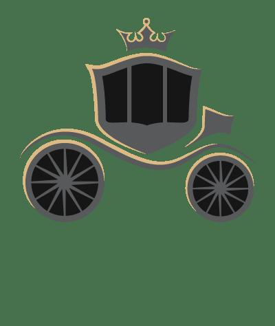 Logo le valet chauffeur privé qui représente un carrosse modernisé de couleur noir, gris et doré
